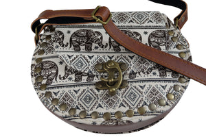 Elephant Shirt Store Women's Handmade Elephant Shoulder Bag -  Style C Black and Brown