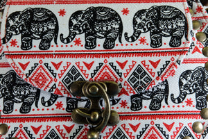 Elephant Shirt Store Women's Handmade Elephant Shoulder Bag -  Style C Black and Red