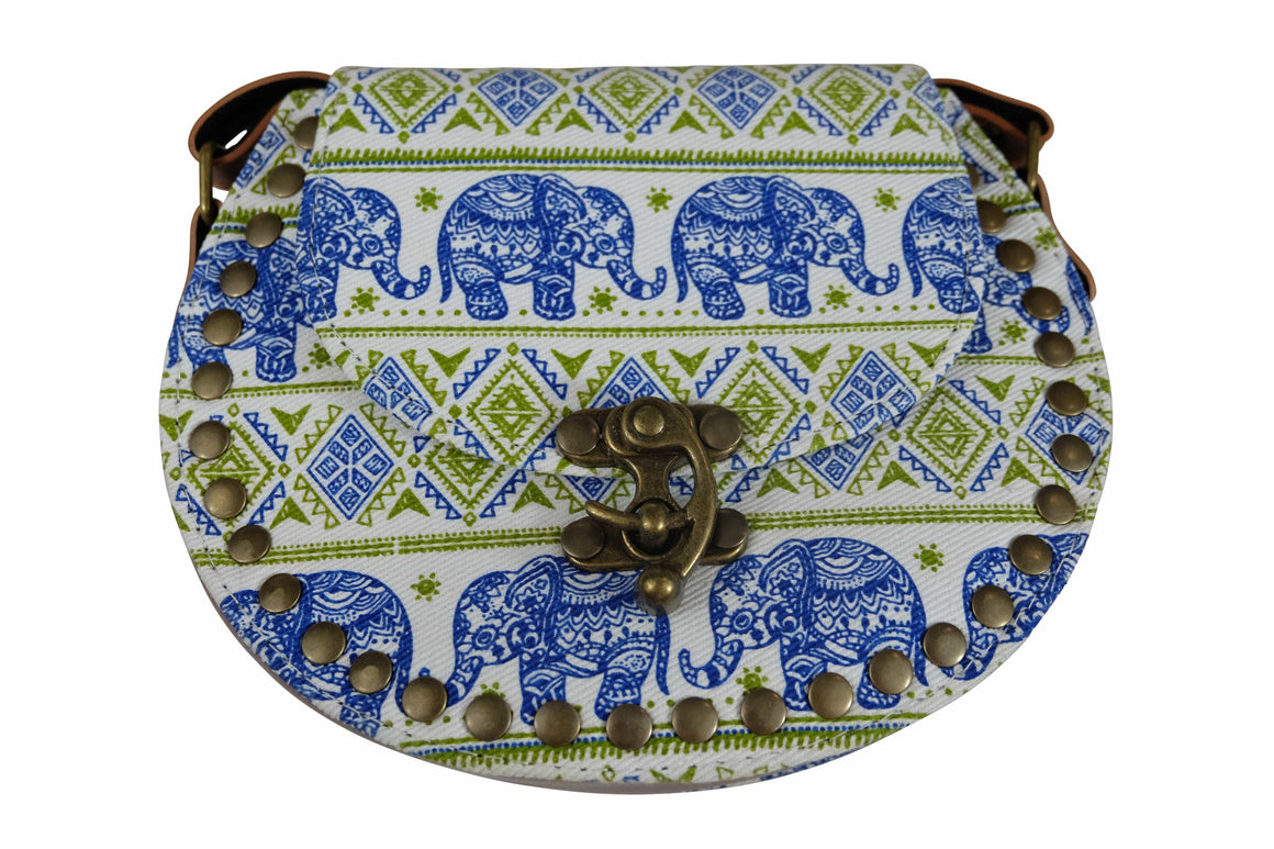 Elephant Shirt Store Women's Handmade Elephant Shoulder Bag -  Style C Blue and Green