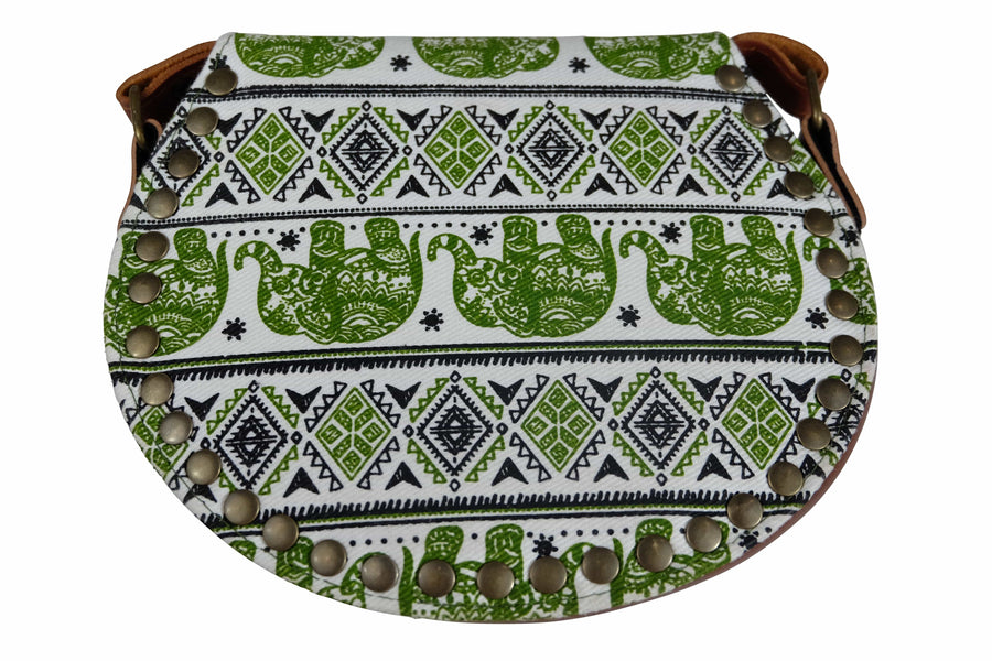 Elephant Shirt Store Women's Handmade Elephant Shoulder Bag -  Style C Green and Black