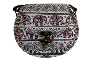 Elephant Shirt Store Women's Handmade Elephant Shoulder Bag -  Style C Maroon