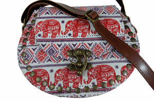 Elephant Shirt Store Women's Handmade Elephant Shoulder Bag -  Style C Red and Purple