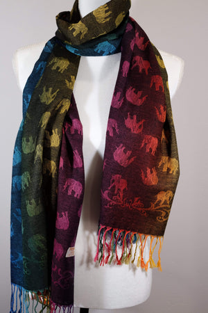 Elephant Shirt Store Women's Striped Rainbow Elephant Pashmina - Vertical