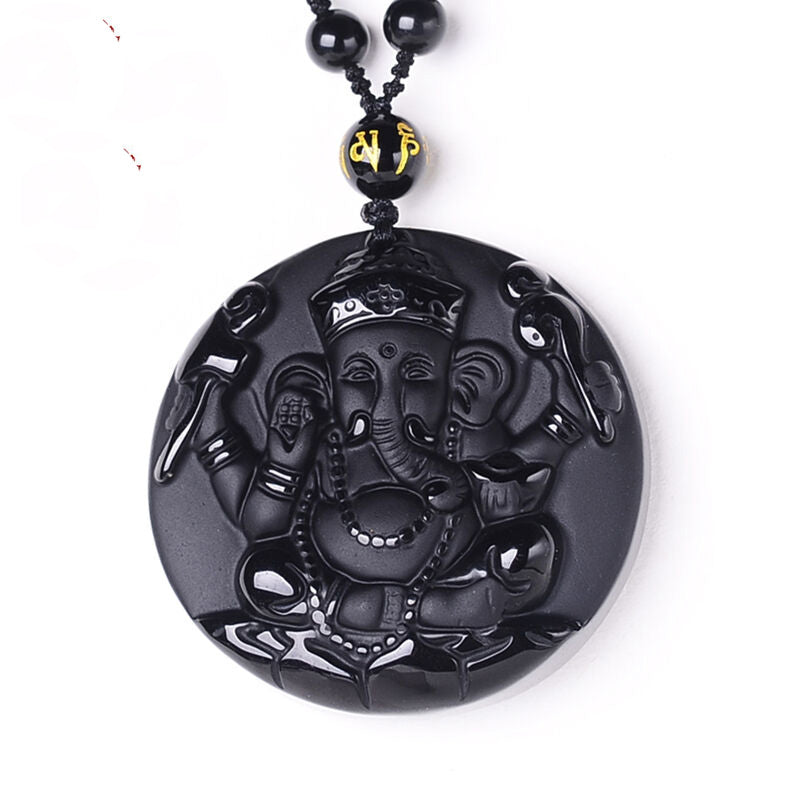 Fine Crystal and Black Obsidian Ganesh Pendant