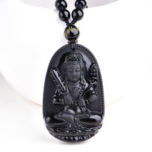 Black Obsidian Carved Black Buddha Necklaces