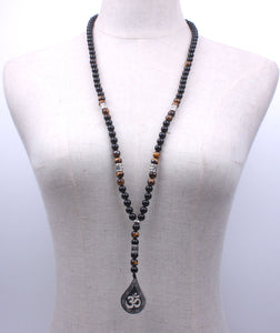 Onyx and Tiger Eye Handmade Om Necklace