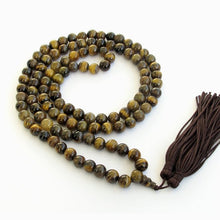 Semi Precious Tiger Eye Japa Mala Necklace with 108 stones