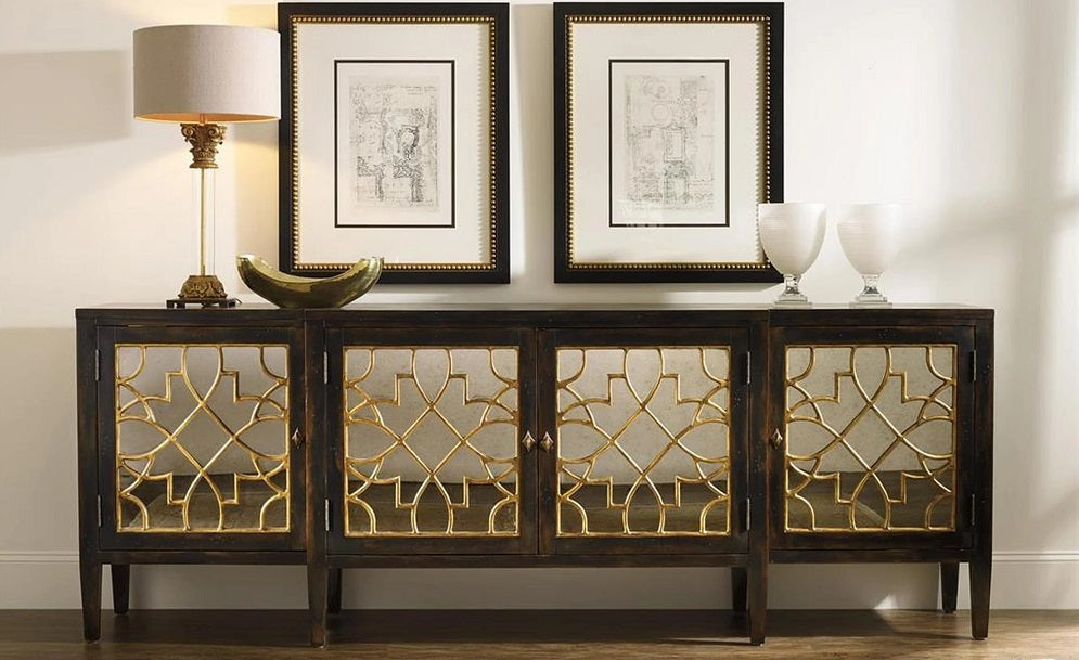 Hooker Furniture Sanctuary Four Door Mirrored Console - Ebony