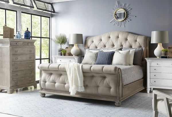 ART Furniture Summer Creek Shoals Upholstered Tufted Sleigh Bed