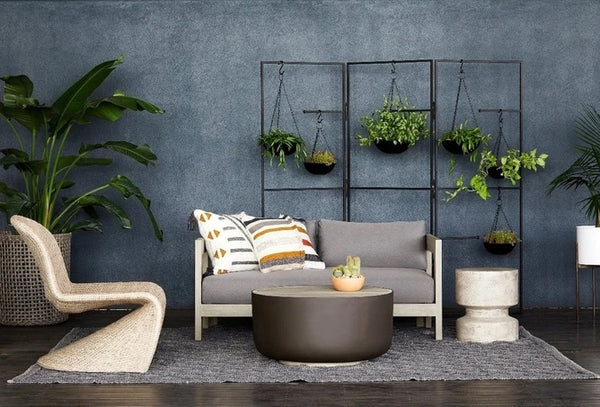 Four Hands Caro Outdoor Sofa-60In Washed Brown and Charcoal