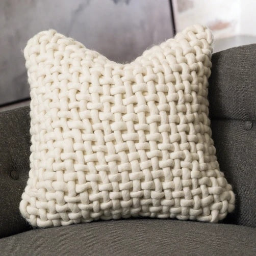 Global Views Noodle Felt Pillow-Bone