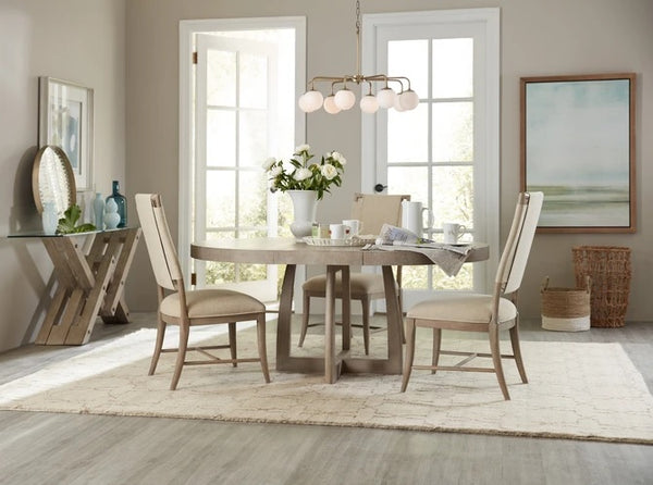 Hooker Furniture Dining Room Affinity 48in Round Pedestal Dining Table with 1-18in Leaf