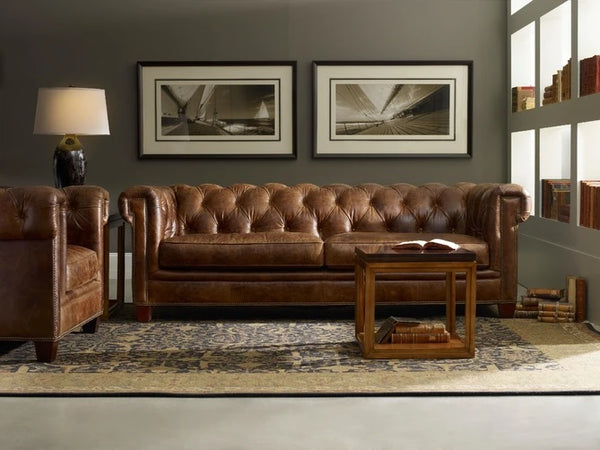 Hooker Furniture Living Room Chester Stationary Sofa Imperial Regal Leather