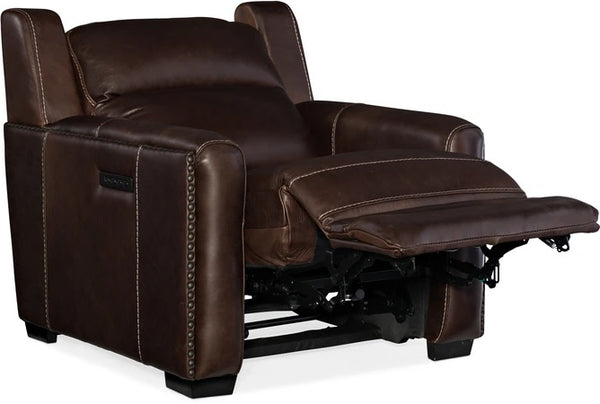 Hooker Furniture Living Room Lincoln Power Recliner With Power Headrest and Lumbar Recline Brown