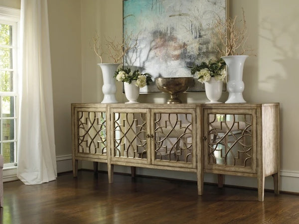 Hooker Furniture Living Room Sanctuary Four-Door Mirrored Console - Surf-Visage