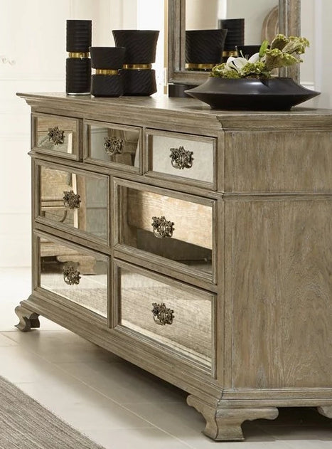 Antique mirrored drawer fronts