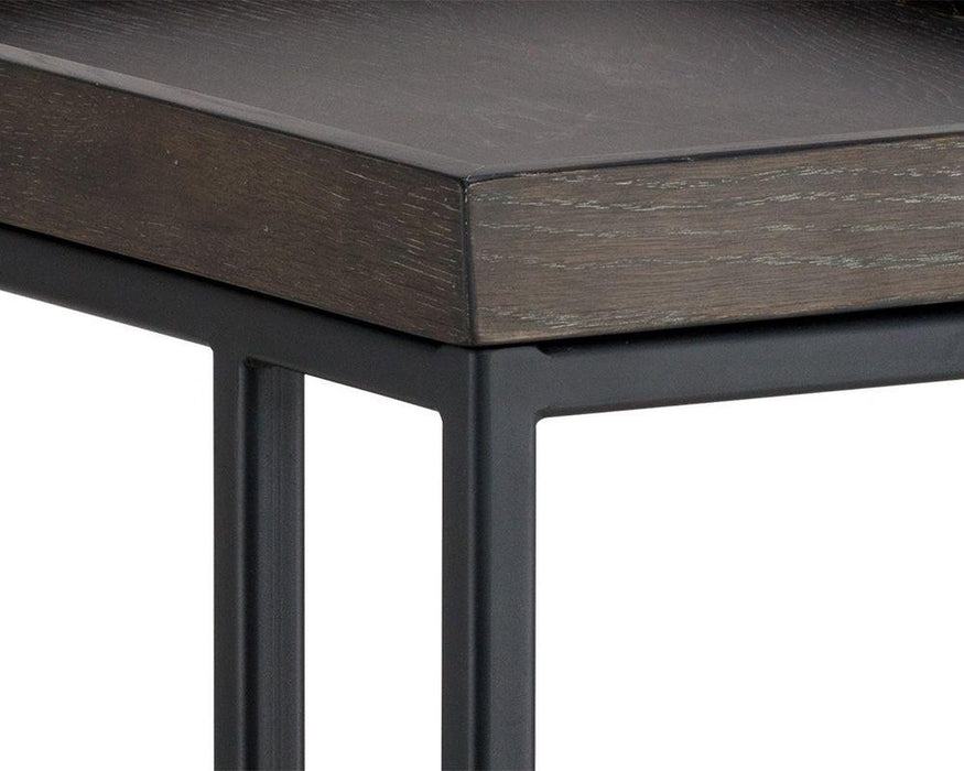 Sunpan Arden C-Shaped End Table - Black Charcoal Grey