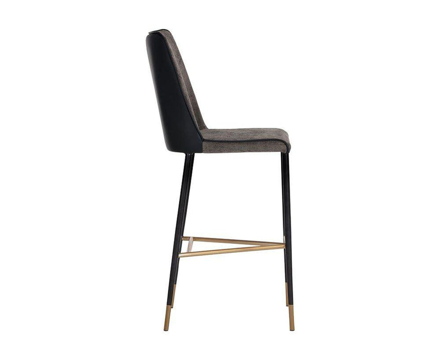 Sunpan Klaus Barstool - Black - Sparrow Grey / Napa Black