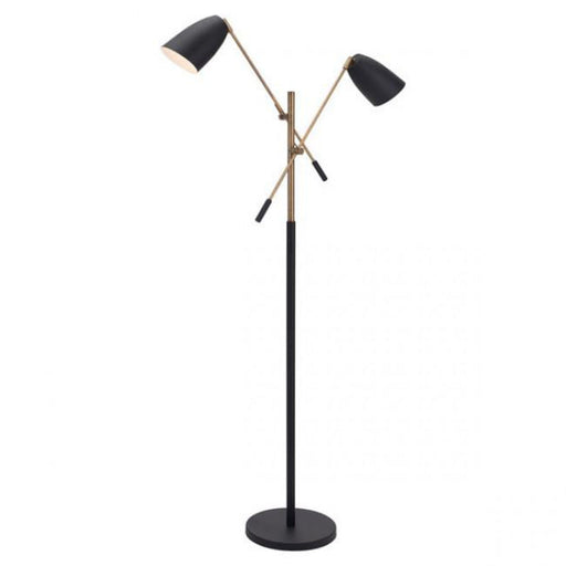 Zuo Tanner Floor Lamp Matte Black & Brass