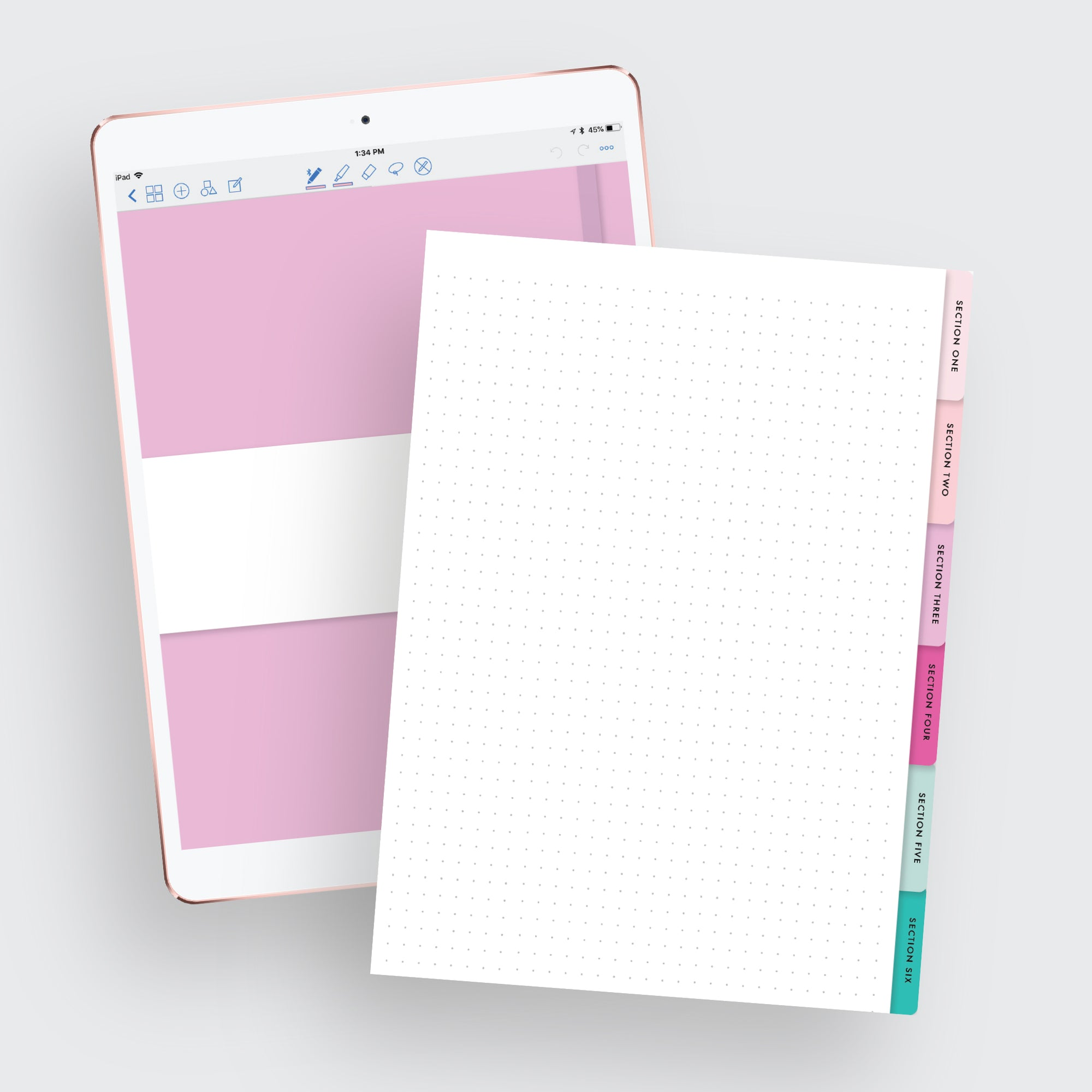 Dotted 6-Tab Digital Notebook