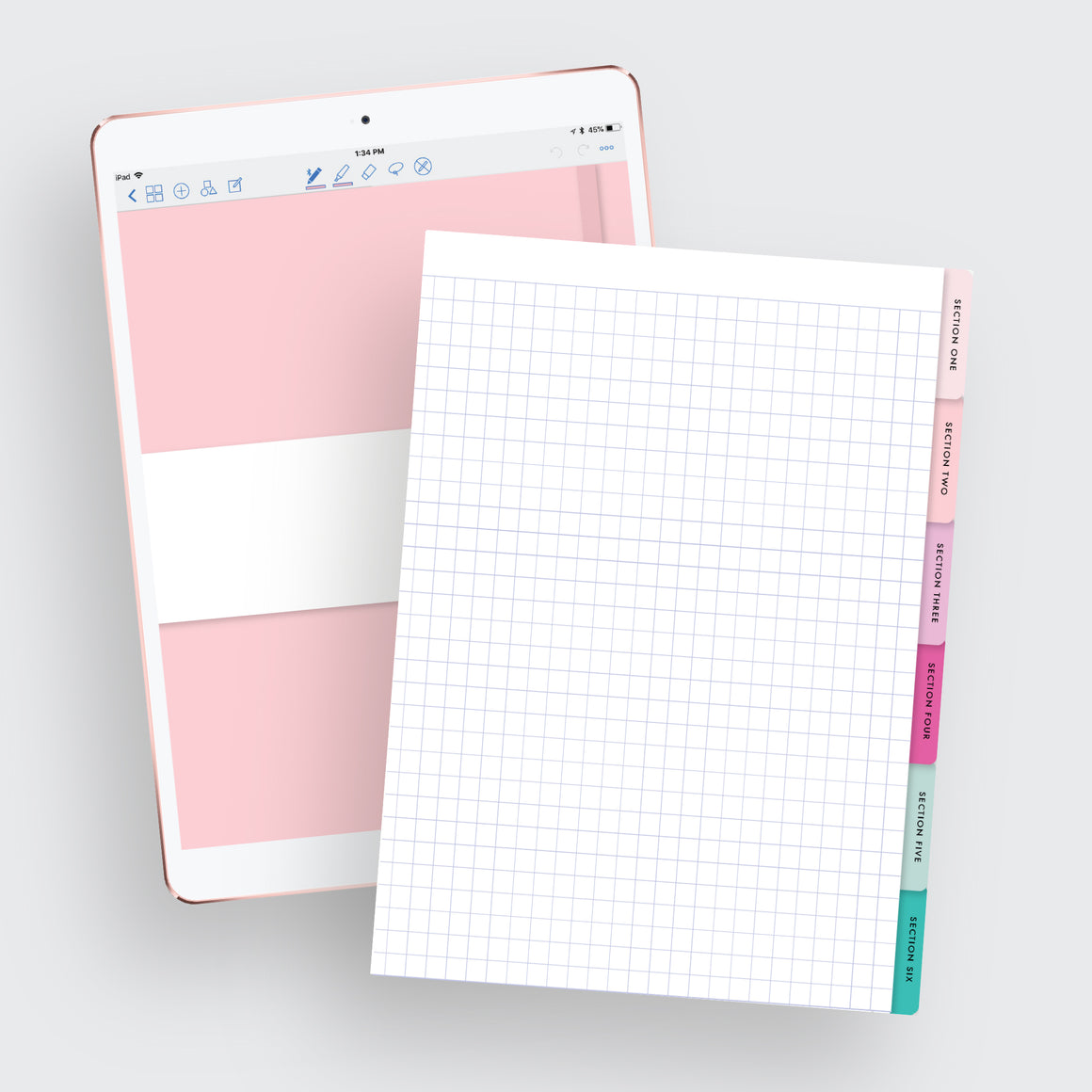 Grid 6-Tab Digital Notebook