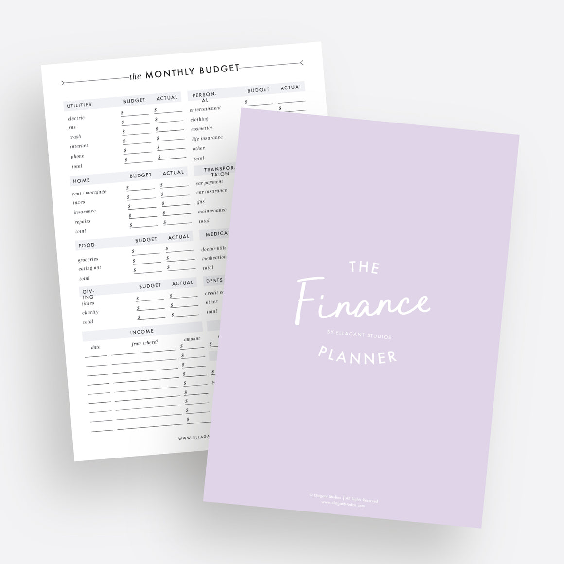 Finance Planner - Instant Download