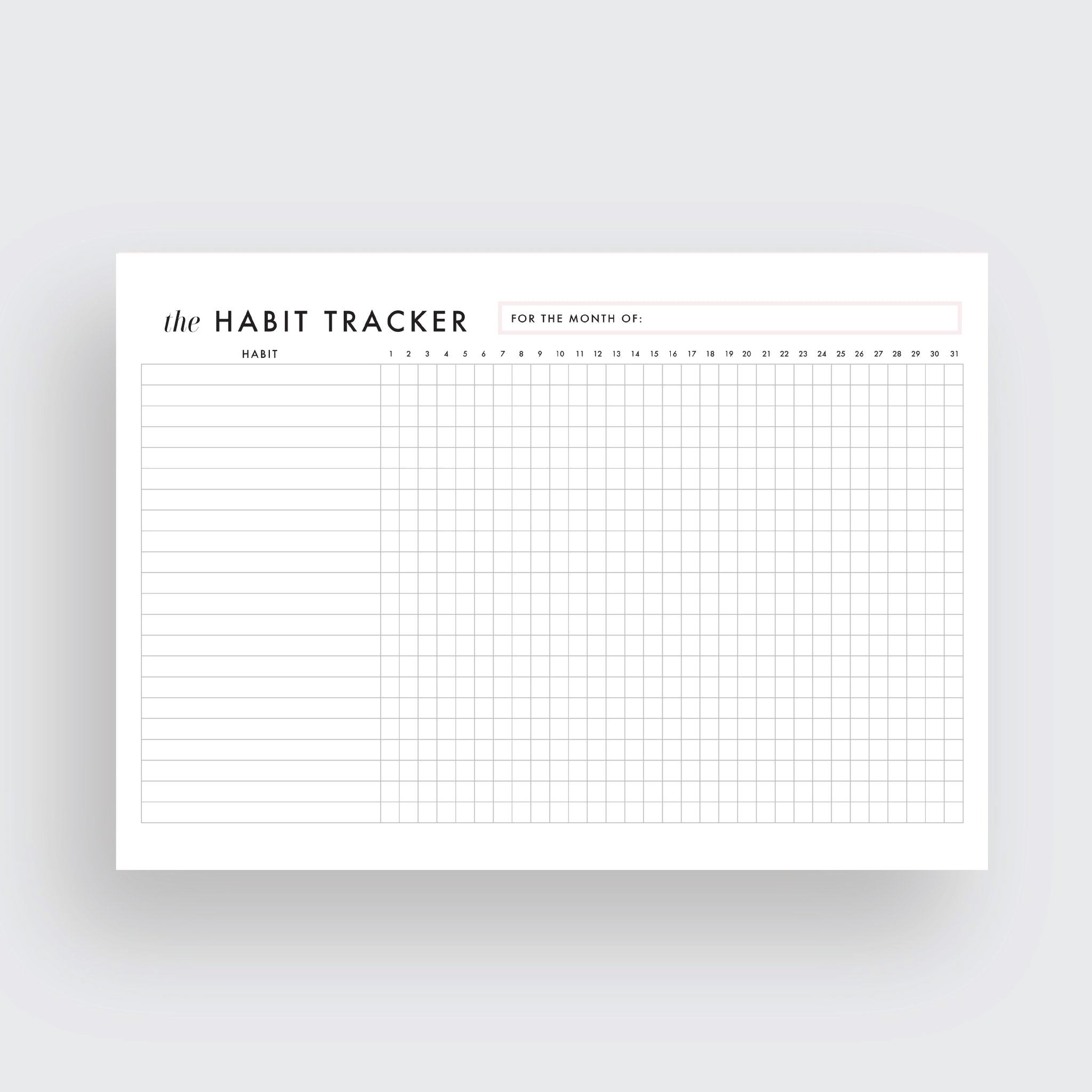 habit tracker instant download ellagant studios