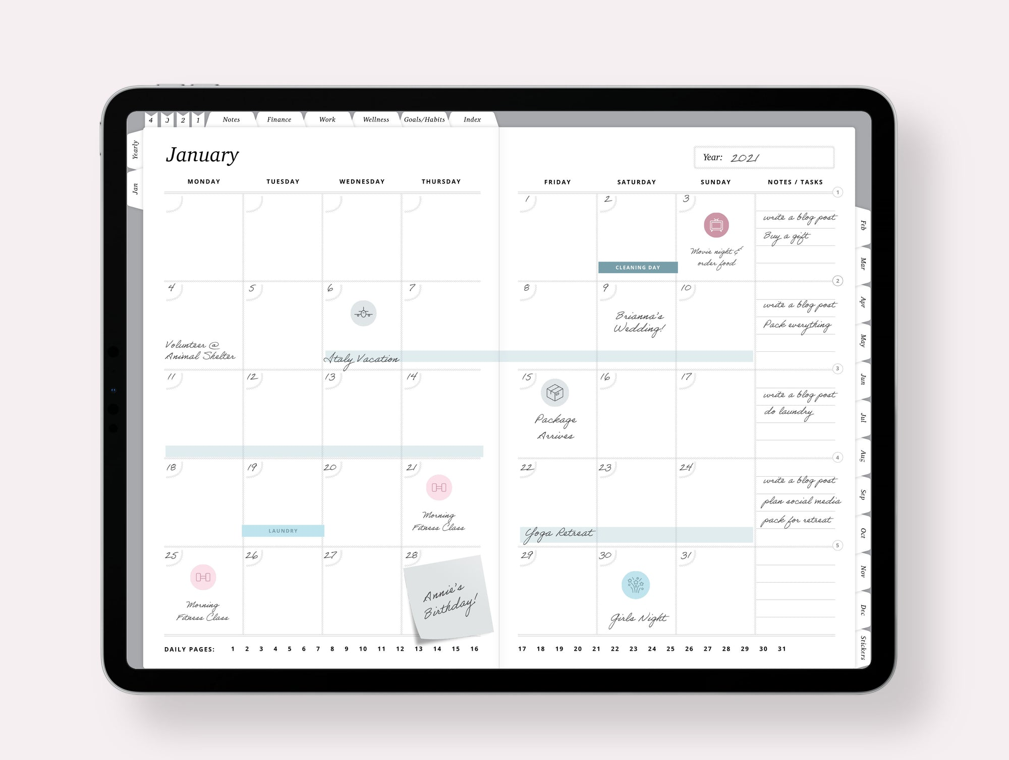 Undated Yearly Digital Planner