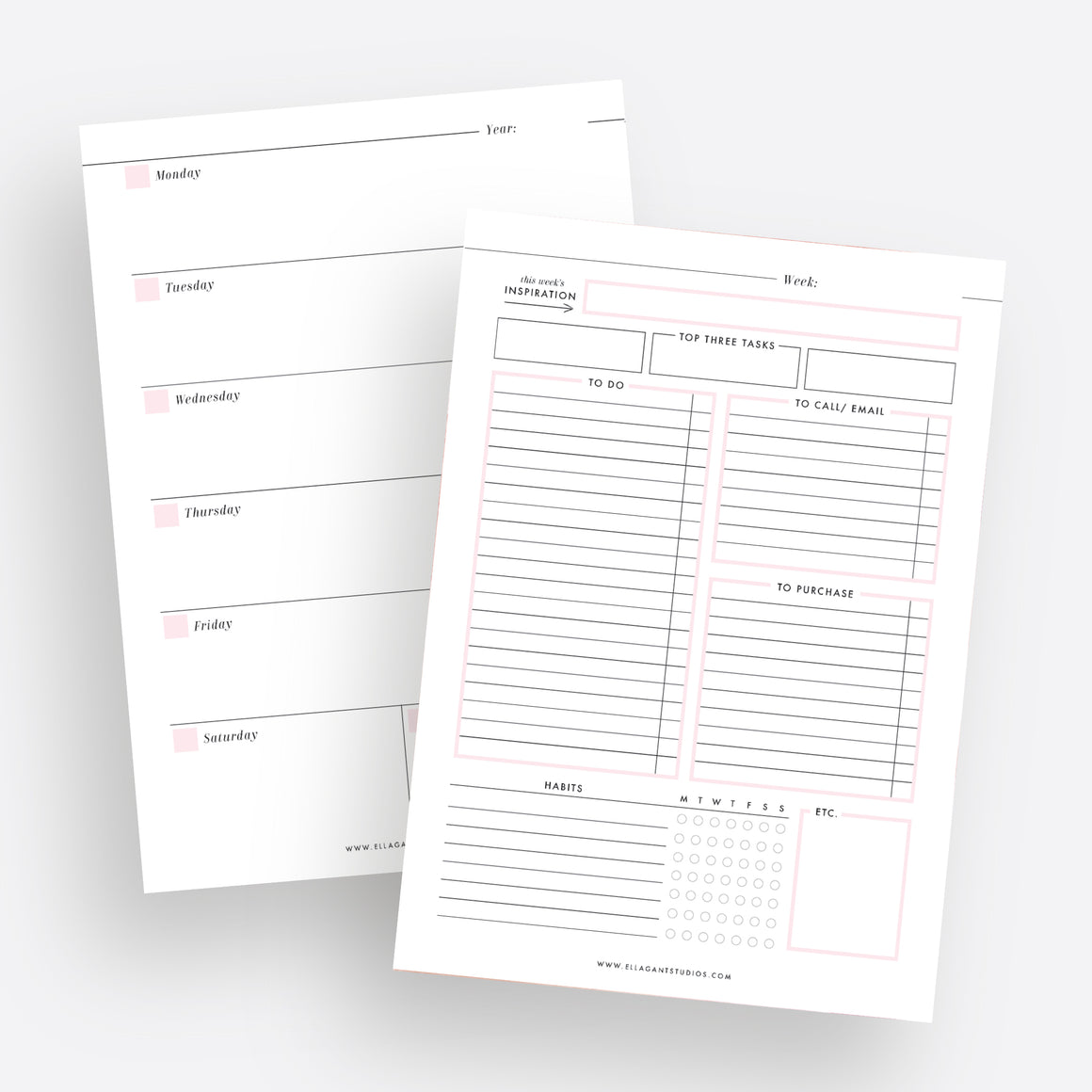 2-Page Weekly Planner - Instant Download