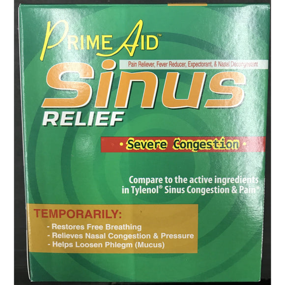 Prime Aid Sinus Relief Severe Congestion 100pk Display