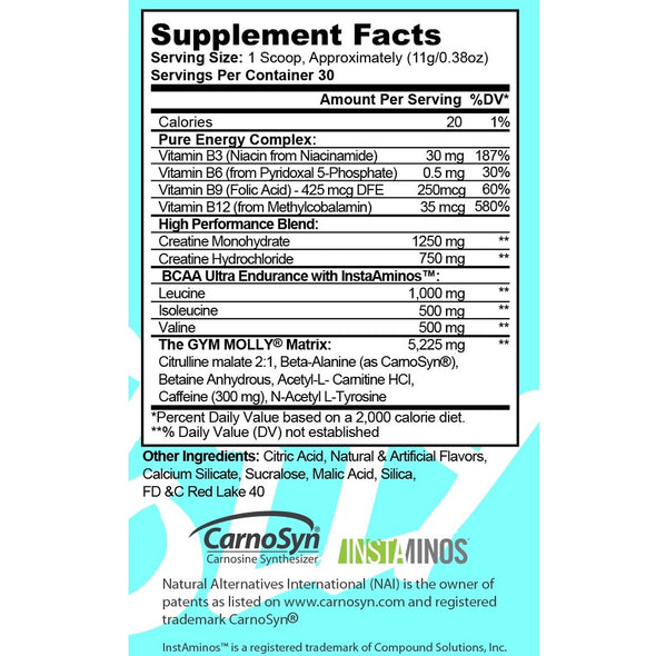 Gym Molly Nutrition Facts Panel