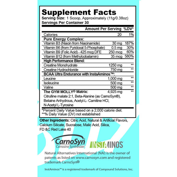 Gym Molly Caffeine Free Supplement Facts Panel