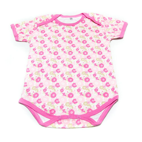 Newborn Baby Girls Romper Bodysuit For 18 To 24 Month Kids – Pink Flowers - Romper - diKHAWA Online Shopping in Pakistan