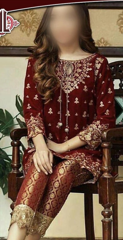 Traditional heavy Embroidery with Sequence and zari & Velvet