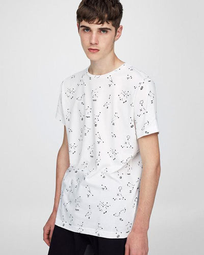 Pull & Bear Branded T-Shirt For Man -White Star Half Sleeves Casual - Spain Brand