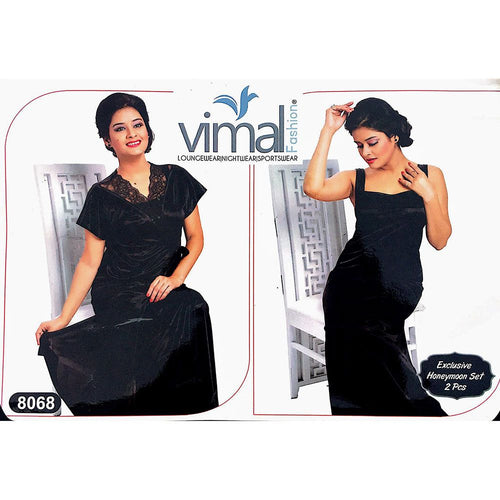 2 Pcs Nighty Set with Gown - V8068 - Satin Silk Nighty By Vimal Fashion - Nighty Sets - diKHAWA Online Shopping in Pakistan