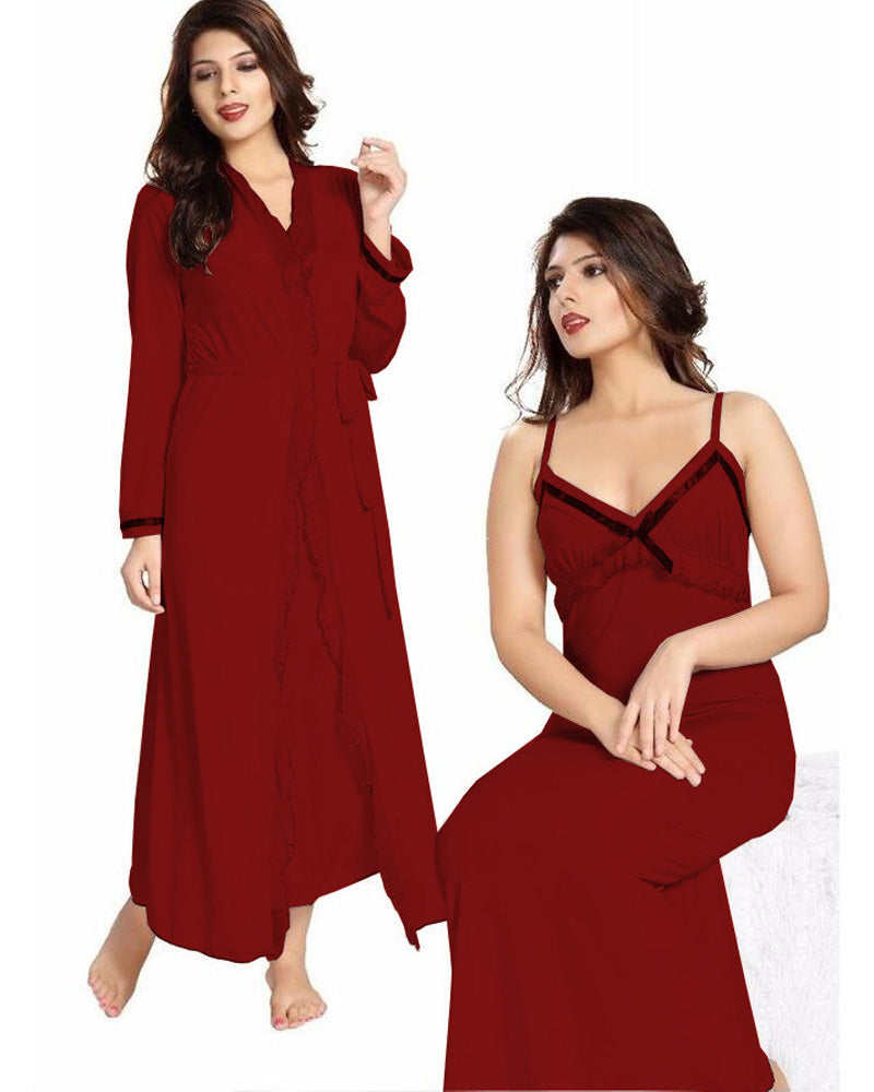 Maroon Nighty - FL-0069 - Flourish 2 Piece Nightwear