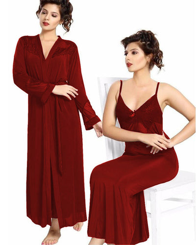 Maroon Nighty - FL-0071 - Flourish 2 Piece Nightwear