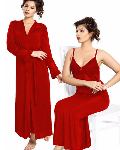 Red Nighty - FL-0071 - Flourish 2 Piece Nightwear