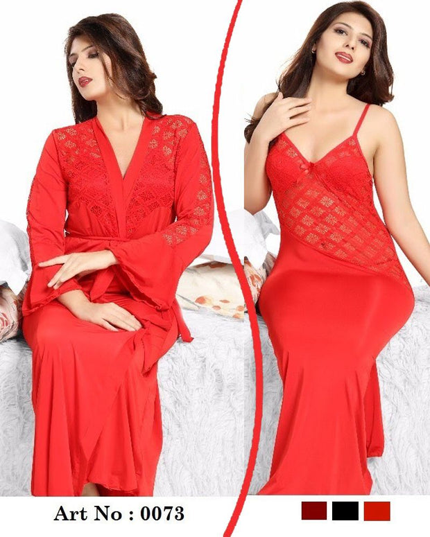 Red Nighty - FL-0073 - Flourish 2 Piece Nightwear