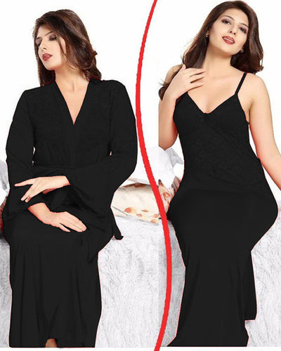 Black Nighty - FL-0073 - Flourish 2 Piece Nightwear