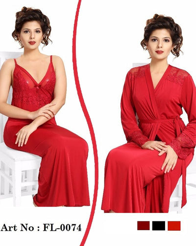 Red Nighty - FL-0074 - Flourish 2 Piece Nightwear