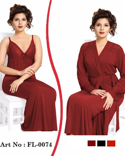 Maroon Nighty - FL-0074 - Flourish 2 Piece Nightwear
