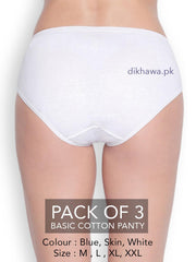 Basic Cotton Panty Pack of 3 - FL-519 - Blue Skin & White