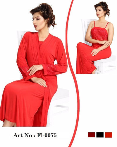Red Nighty - FL-0075 - Flourish 2 Piece Nightwear