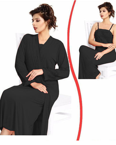 Black Nighty - FL-0075 - Flourish 2 Piece Nightwear
