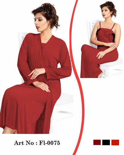 Maroon Nighty - FL-0075 - Flourish 2 Piece Nightwear