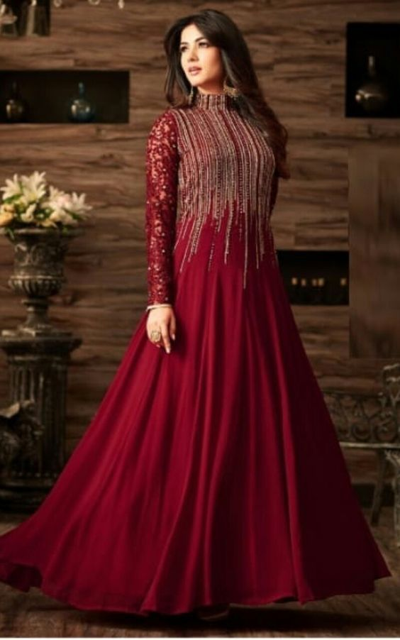 Indian Chiffon Maxi - Embroidered Chiffon Dupatta - Replica - Unstitched