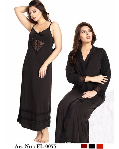 Black Nighty - FL-0077 - Flourish 2 Piece Nightwear