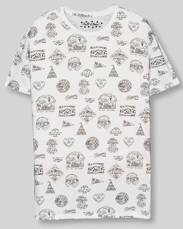 Pull & Bear Branded T-Shirt For Man -White Camping Print Half Sleeves Casual - Spain Brand